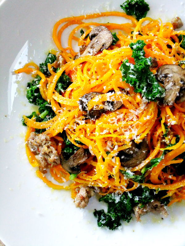 "butternut squash ""noodles"" with sausage, mushroom and kale"