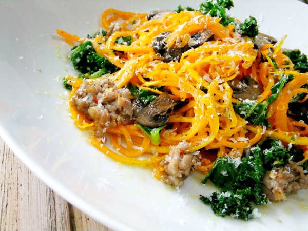 "butternut squash ""noodles"" with mushrooms, sausage and kale"