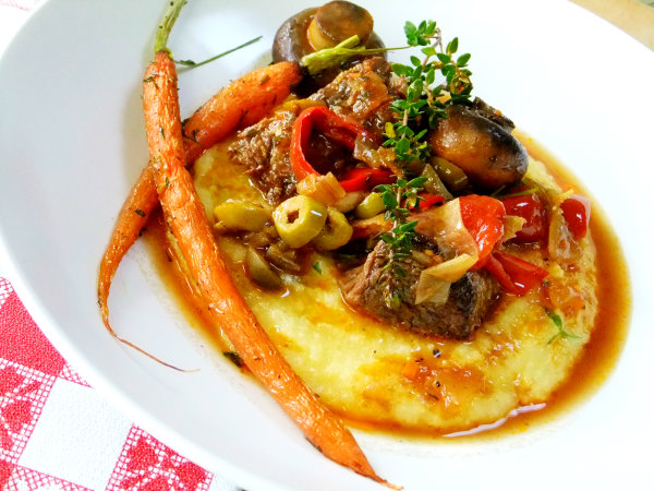 braised pot roast with polenta