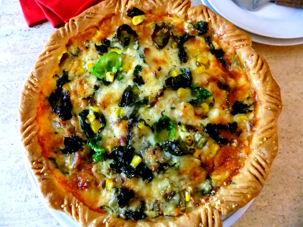 brussel sprout kale, corn pie