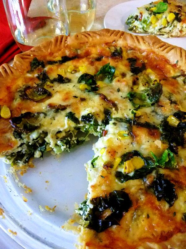 brussel sprout kale, corn pie