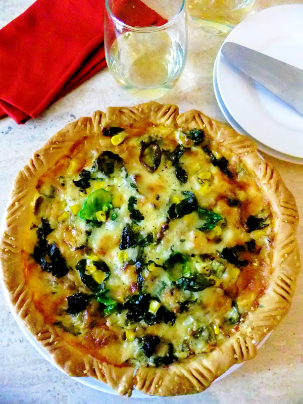brussel sprout, kale corn pie