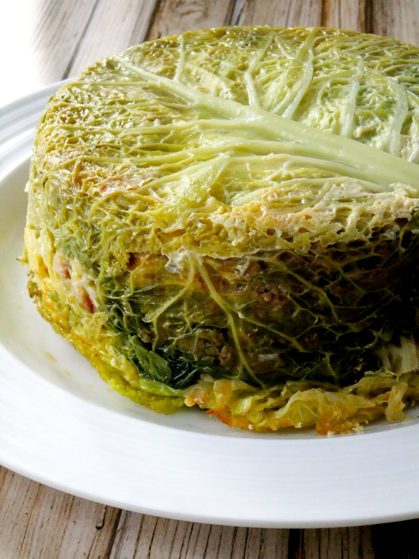 unmolded stuffed cabbage cake