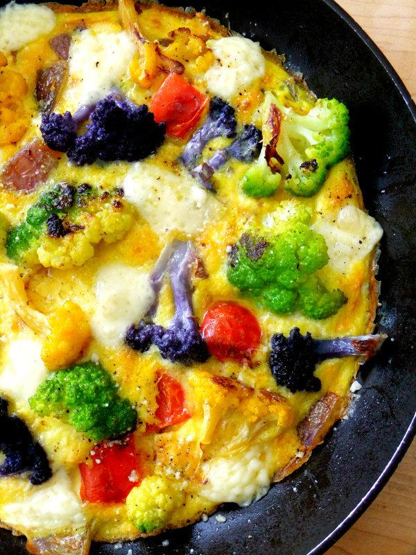 colored cauliflower frittata
