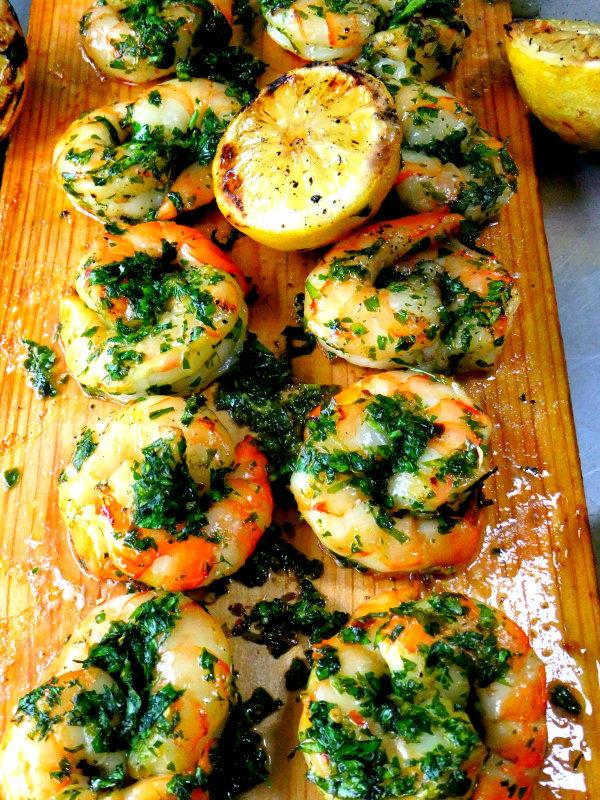 cedar planked shrimp