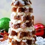 Pandoro Christmas Tree Cake with Amaretto and Mascarpone Whipped Cream