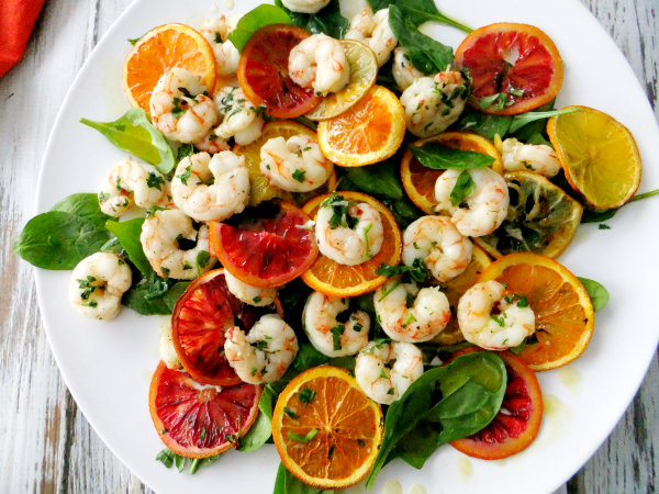 roasted citrus with shrimp