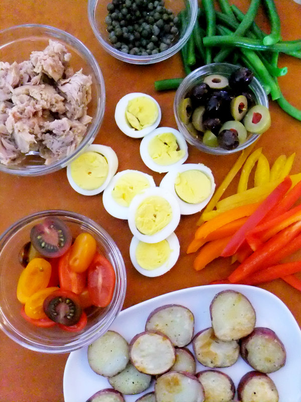 ingredients for tuna nicoise tart