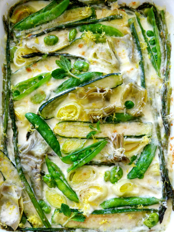 spring vegetables in parmesan cream