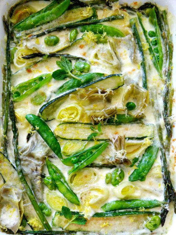 spring vegetables in parmesan cream