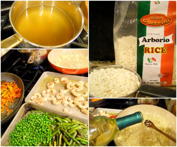 ingredients for shrimp and vegetable risotto