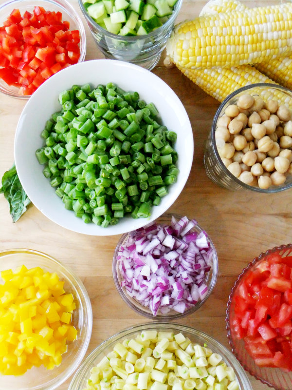chopped veggie salad ingredients