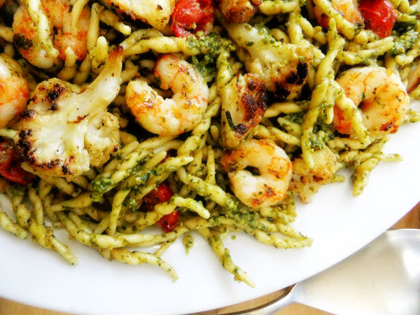 trofie pasta with pesto and shrimp