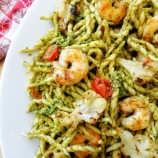 Trofie Pasta with grilled shrimp, Cauliflower and Pesto