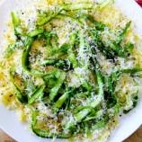 """Spaghetti Squash """"Cacio e Pepe"""" with Asparagus Ribbons"""