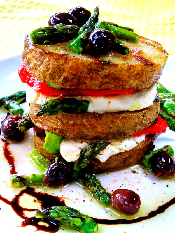 grilled potato and asparagus napoleon