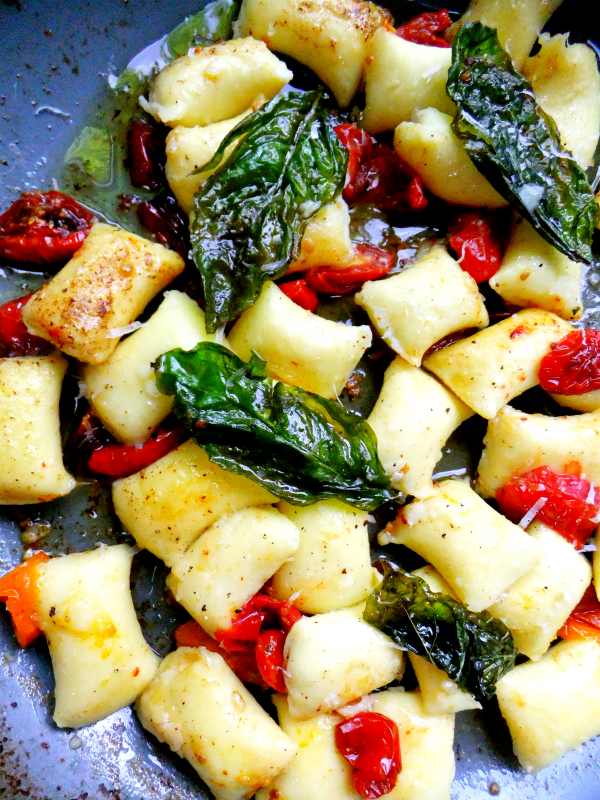 gnocchi with brown butter, basil and tomato