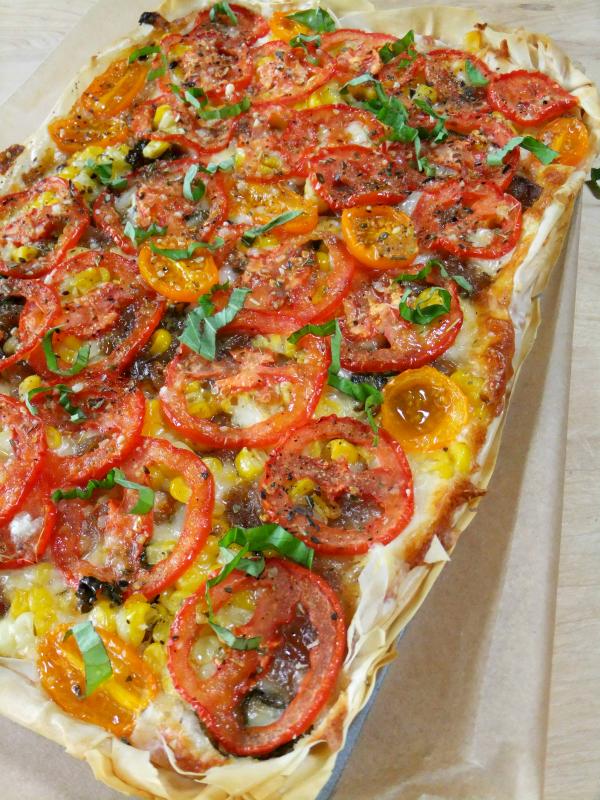 summer tomato and corn tart