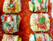 Zucchini Roll Ups with Ricotta and Summer Corn