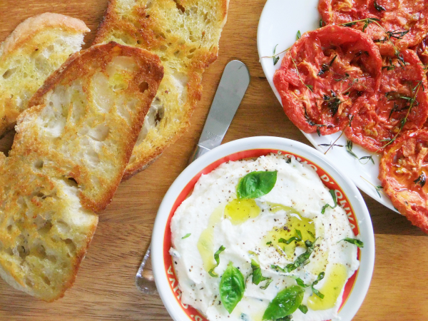 whipped ricotta and slow roasted tomatoes