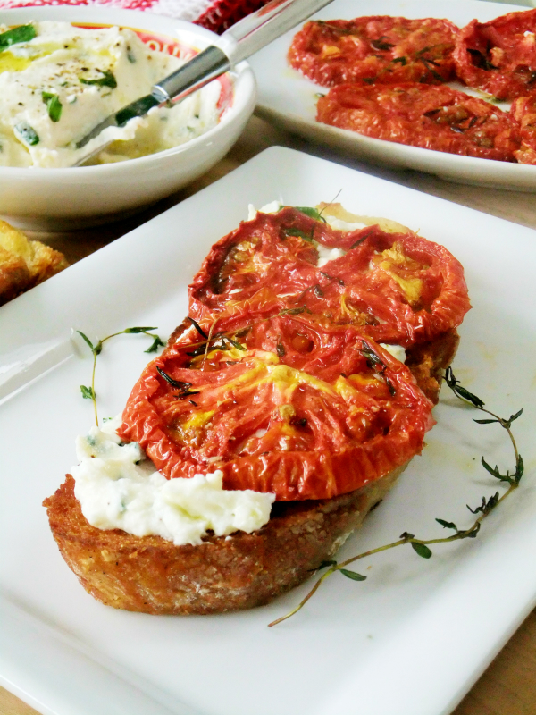 crostini with whipped ricotta and slow roasted tomatoes