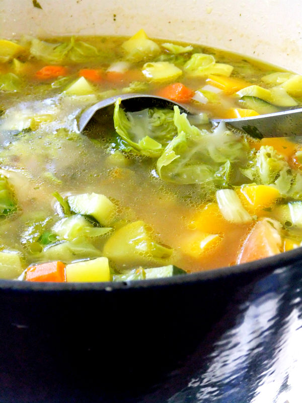 a pot of chunky minestrone