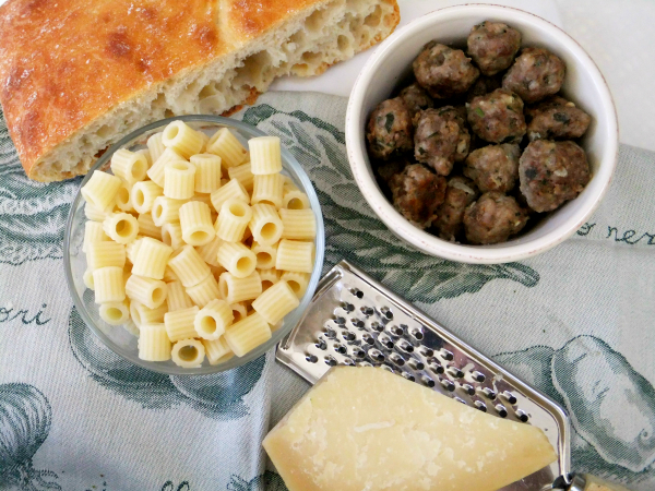 pasta, mini meatballs and cheese for minestrone