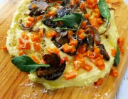 Polenta on a Board Topped with Butternut Squash and Mixed Mushrooms