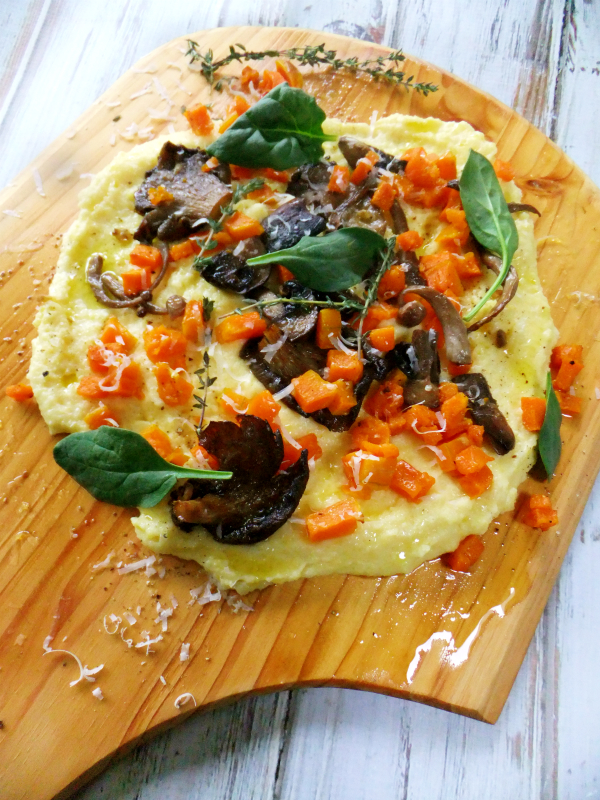 polenta with mushroom and butternut squash