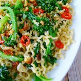 Curly Long Spaghetti with Broccolini, Chilli and Homemade Breadcrumbs