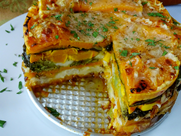 layered roasted vegetable torte
