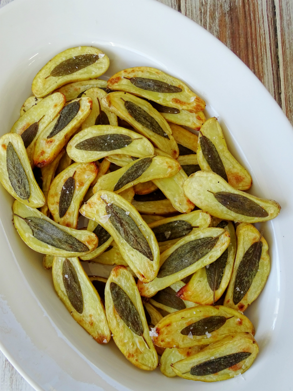 sage embossed potatoes