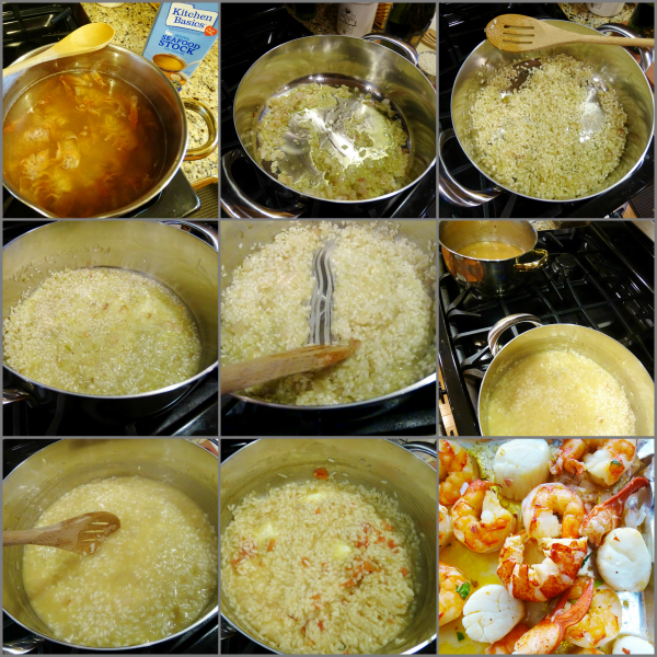 making seafood risotto