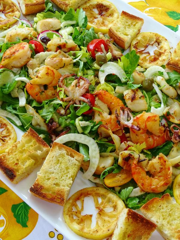summer grilled seafood salad