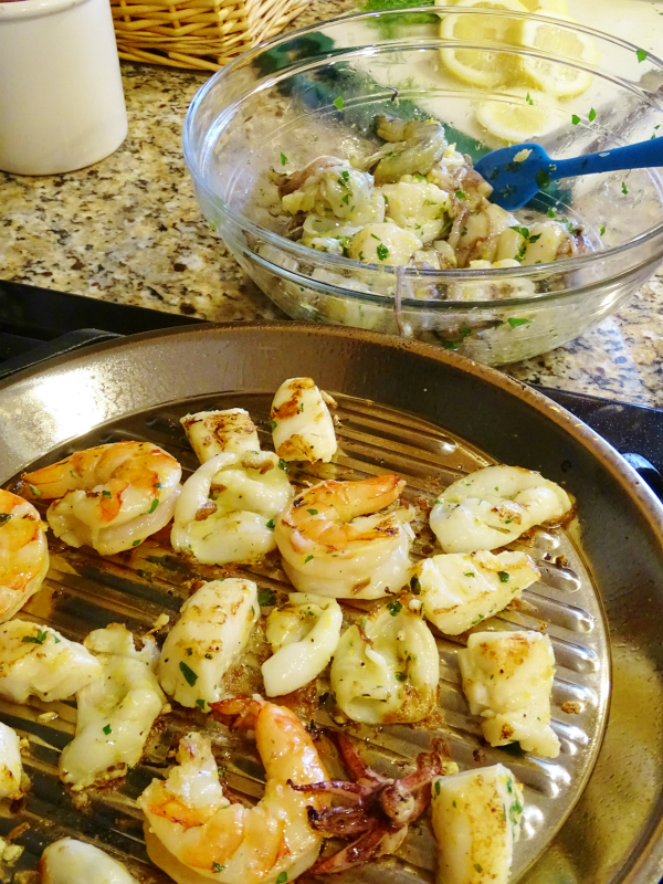 stove topped grilled seafood