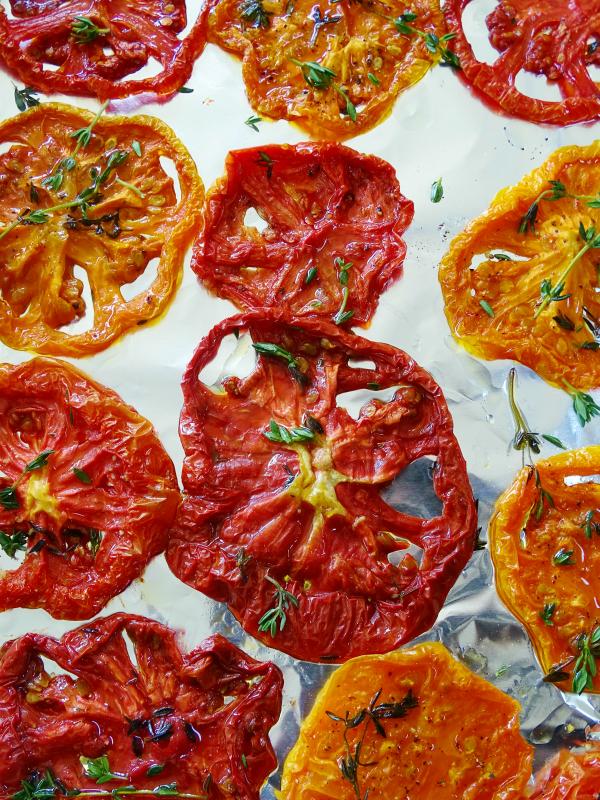 slow roasted heirloom tomatoes