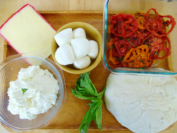 ingredients for grilled pizza