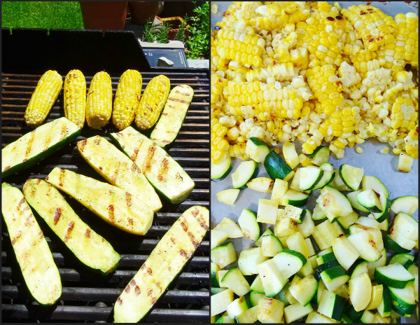 grilled corn and zucchini