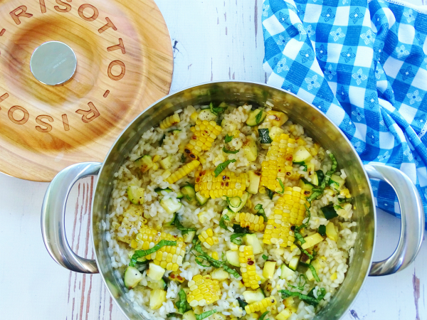 grilled corn and zucchini risotto