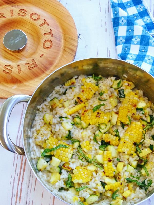 grilled corn and zucchini risotto
