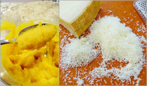 squash puree and parmesan