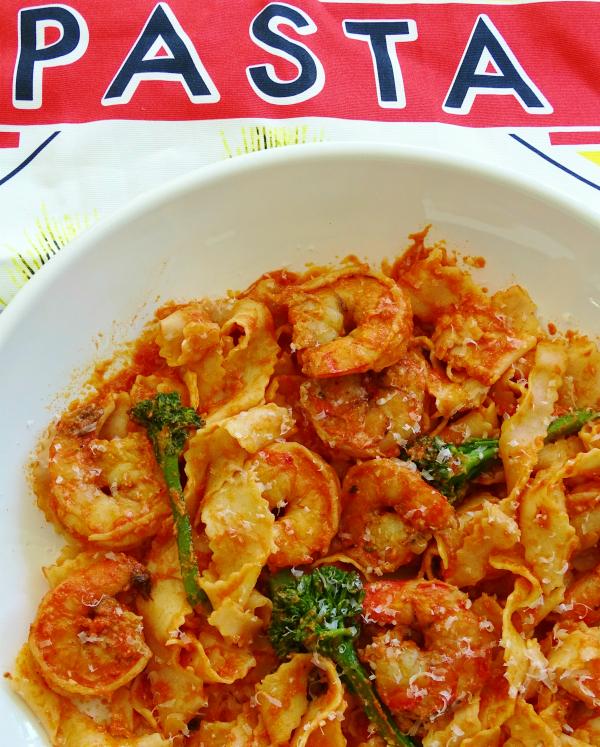 shrimp pasta and broccolini
