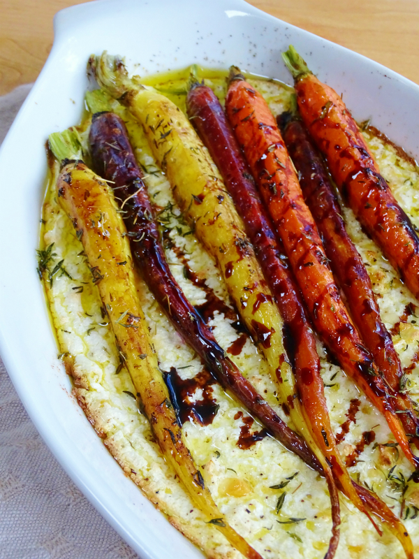 balsamic and thyme carrots on ricotta