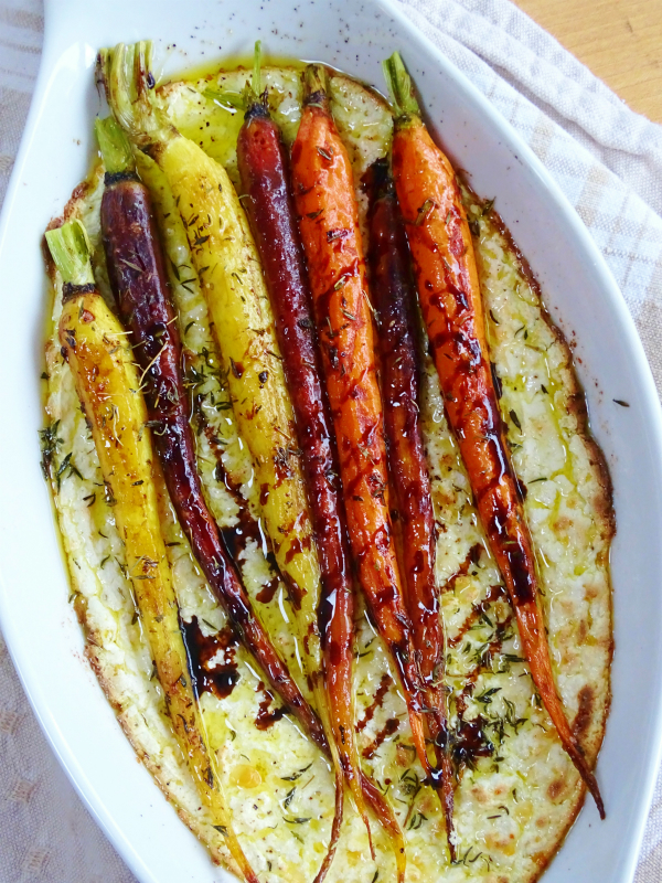 rainbow carrots on baked ricotta