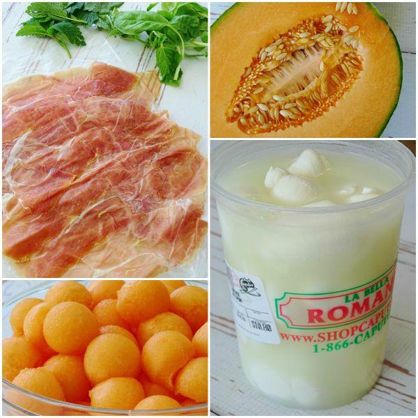 melon mozzarella skewers