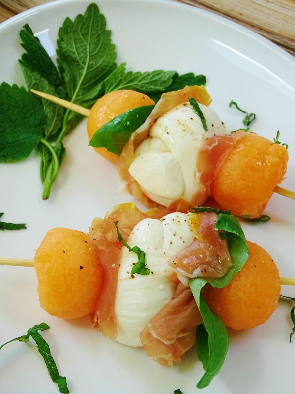 melon mozzarella skewers