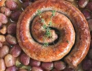 Italian Sausage Roasted Together with Grapes