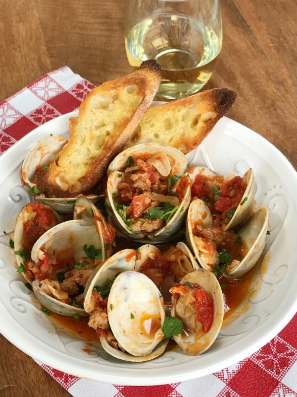 clams and spicy sausage