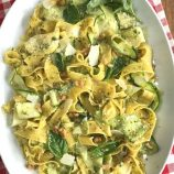 Pesto Pappardelle Pasta with Zucchini Ribbons