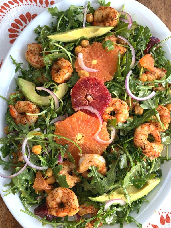 blackened shrimp with citrus salad